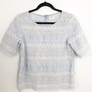 GAP 1969 eyelet chambray blue and white top